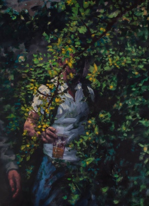 A beer in forest, oil on canvas, 70x90 cm, 2014