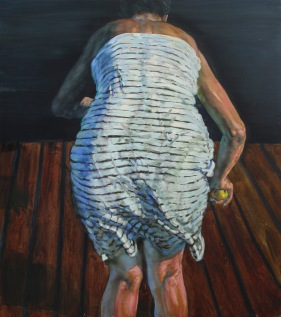 White cloth and pear, oil on canvas, 140x120 cm, 2013