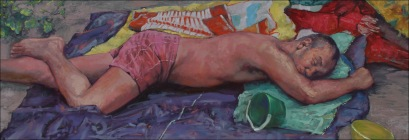 Sleep 8, oil on canvas, 40x140cm, 2010