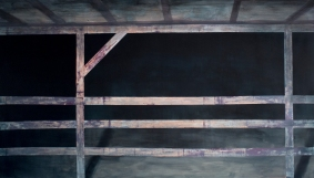 The fence, acrylics on paper, 100 X 200 cm, 2015