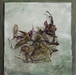 Dry flowers, acrylics and oil on canvas, 80 X 80 cm, 2016